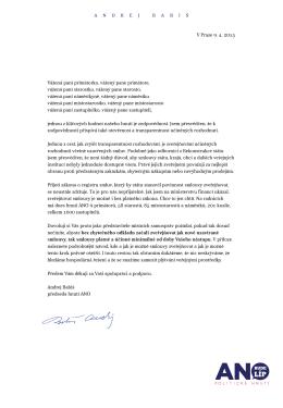V Praze 9. 4. 2015 Vážená paní primátorko, vážený pane primátore