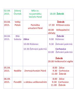 02.04. 2015. Zelený Čtvrtek Mše sv. na památku Večeře Páně 18.00