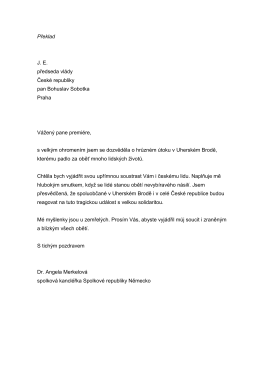 Překlad JE předseda vlády České republiky pan Bohuslav Sobotka
