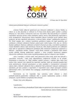 V Praze, dne 13. října 2015 Vážený pane předsedo Rady