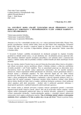 dopis adresovaný vládě