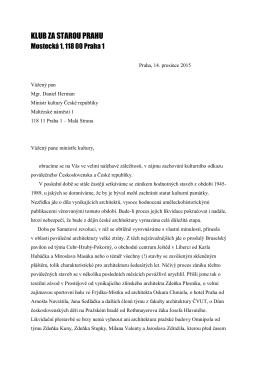 apel ministru kultury - Klub Za starou Prahu