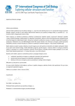 Společnost klinické cytologie 5. srpna 2015 Vážený pane předsedo