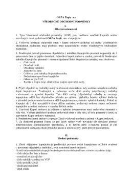 ORPA Papír a.s. VŠEOBECNÉ OBCHODNÍ PODMÍNKY I. Obecná
