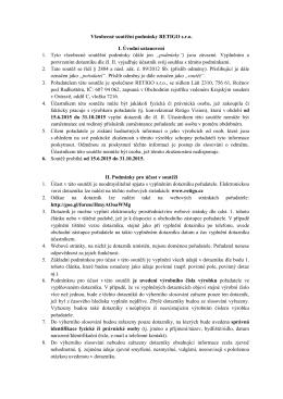Všeobecné soutěžní podmínky RETIGO s.r.o. I. Úvodní ustanovení 1