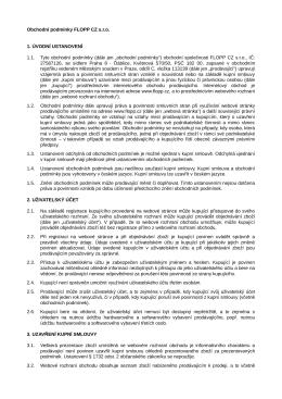Obchodní podmínky FLOPP CZ s.r.o. 1. ÚVODNÍ USTANOVENÍ 1.1