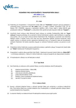 Podmínky pro hospodaření s transportními obaly nkt cables s.r.o.