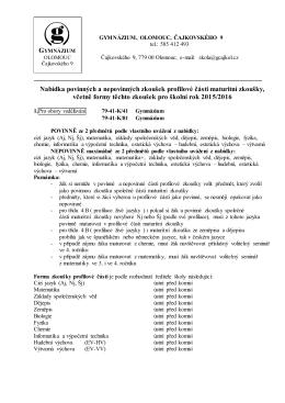 Nabídka povinných a nepovinných zkoušek profilové části maturitní
