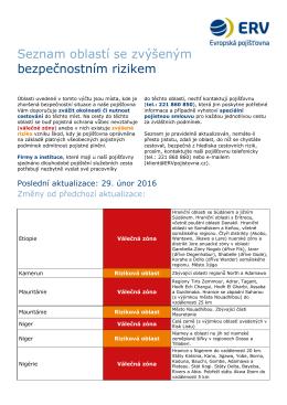 Seznam oblastí se zvýšeným bezpečnostním rizikem