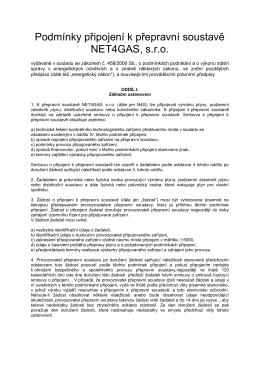 Podmínky připojení k přepravní soustavě NET4GAS, s.r.o.