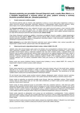 Závazné podmínky BOZP, PO, ŽP pro externí osoby