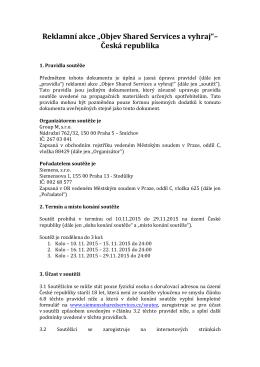 """Reklamní akce """"Objev Shared Services a vyhraj""""– Česká republika"""