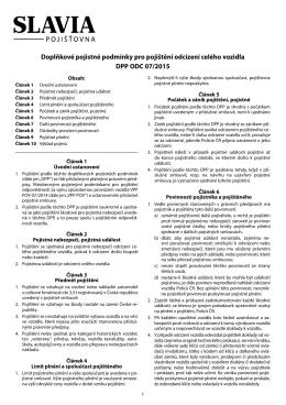 Doplňkové pojistné podmínky pro pojištění odcizení