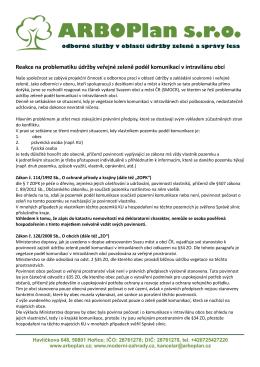 Vyjádření společnosti ARBOPlan s.r.o.