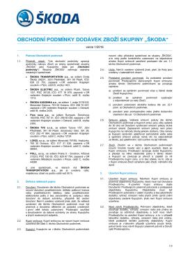 Obchodní podmínky dodávek zboží skupiny ŠKODA verze 1/2016