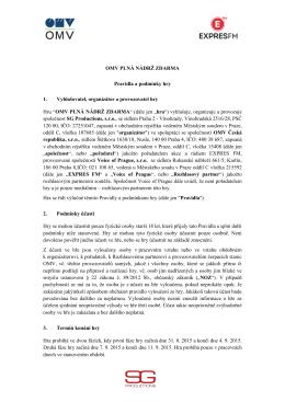Pravidla soutěže OMV PLNÁ NÁDRŽ ZDARMA
