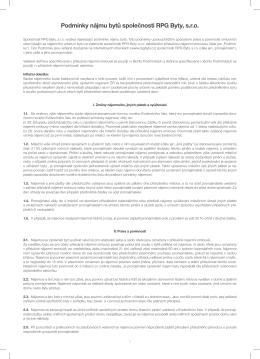 Podmínky nájmu bytů společnosti RPG Byty, s.r.o. v PDF