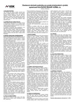 Všeobecné obchodní podmínky pro prodej strojírenských výrobků