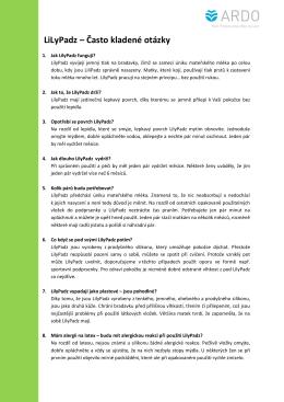 LiLyPadz – Často kladené otázky