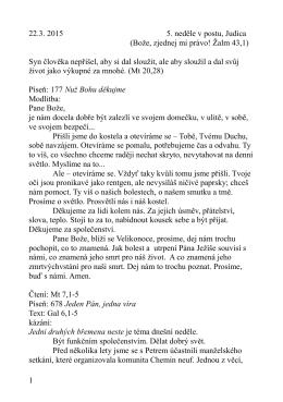 22.3. kázání L. Ridzoňové - Neste břemena Ga 6,1-5