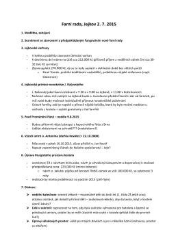 Zápis z jednání farní rady dne 2. července 2015