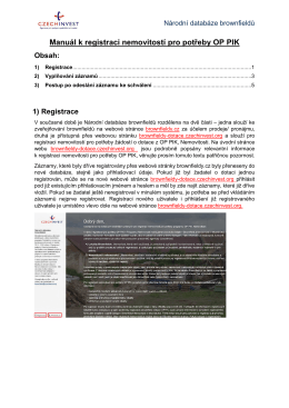 Manuál k registraci nemovitostí pro potřeby OP PIK