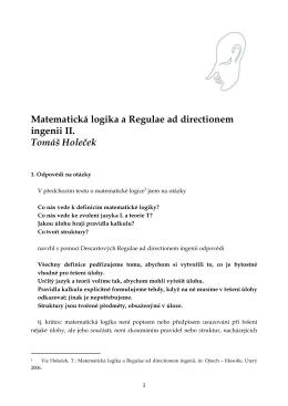 Matematická logika a Regulae ad directionem ingenii II