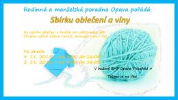 Leták sbírka oblečení a vlny v Opavě