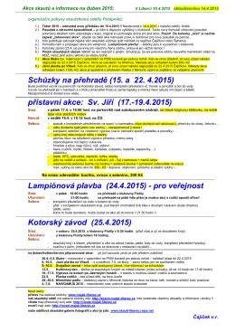 Akce a informace na duben 2015 ()