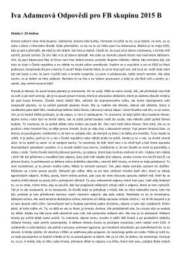 Iva Adamcová Odpovědi pro FB skupinu 2015 B - IVANKA