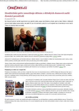 Hostitelská péče umožňuje dětem z dětských domovů