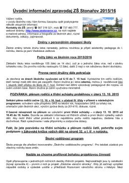 Úvodní informační zpravodaj ZŠ Stonařov 2015/16