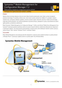 Symantec™ Mobile Management for Configuration Manager 7.2
