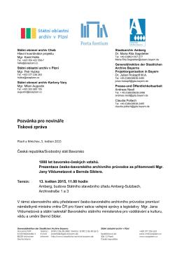 Pozvánka pro novináře Tisková zpráva