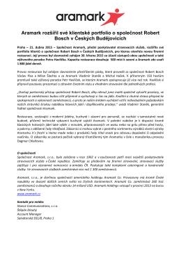 Aramark rozšířil své klientské portfolio o společnost Robert Bosch v