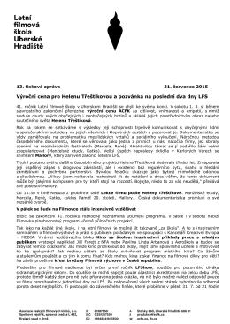 13. tisková zpráva LFŠ 2015 - Letní filmová škola Uherské Hradiště