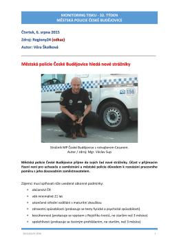 32.týden 2015 - Městská policie České Budějovice