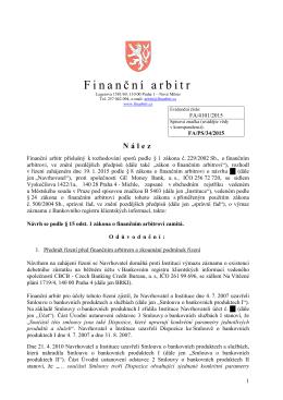 Nález ze dne 15. dubna 2015 vydaný pod evidenčním číslem FA
