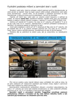 Fyzikální podstata mlžení a zamrzání skel v autě