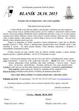 BLANÍK 28.10. 2015 - Arcibiskupské gymnázium