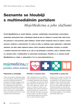 Seznamte se hlouběji s multimediálním portálem MojeMedicina a
