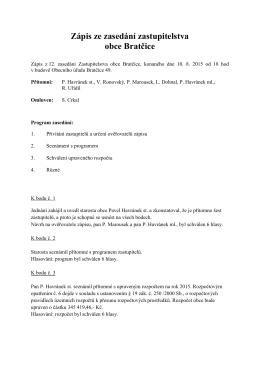 Zápis zastupitelstva dne 10.8.2015