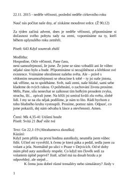 22.11. kázání L. Ridzoňové Darovaná budoucnost Gn 22,1-19