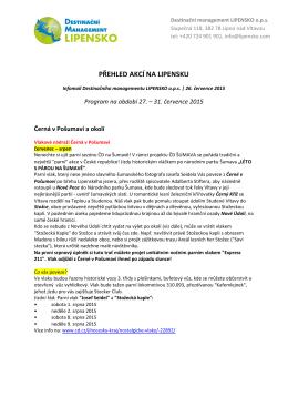 přehled akcí na lipensku 1.-9.8.2015