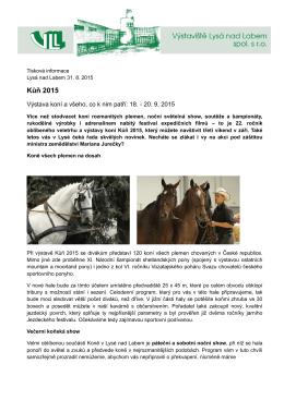Mezinárodní výstava koní v Lysé nad Labem