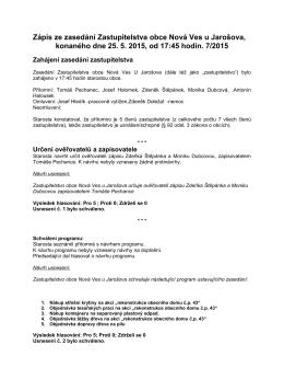 Zápis ze zasedání Zastupitelstva obce Nová Ves u Jarošova
