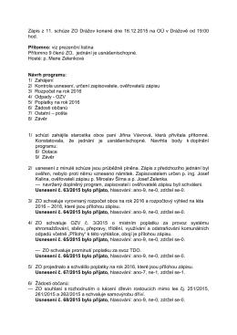 Zápis z 11. schůze ZO Drážov konané dne 16.12