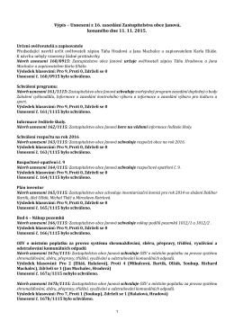 Výpis – Usnesení z 16. zasedání Zastupitelstva obce Janová