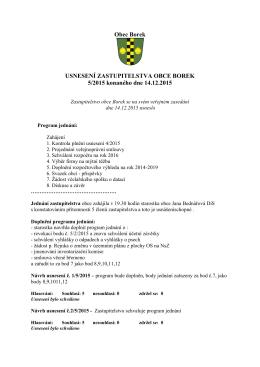 Usnesení zastupitelstva ze 14.12.2015