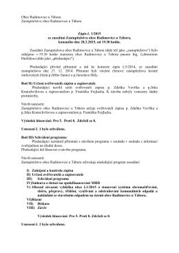Obec Radimovice u Tábora Zastupitelstvo obce Radimovice u